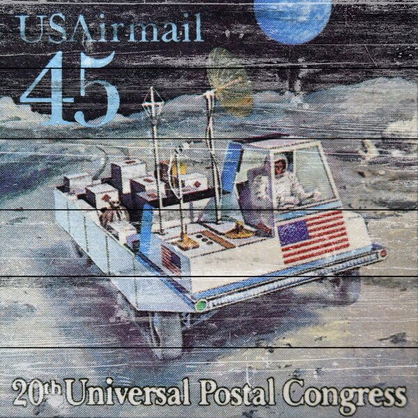 Lunar Rover Stamp Graphic Art on Wood by Marmont Hill