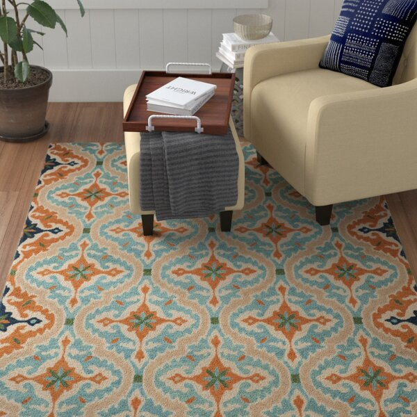 Agustine Hand-Tufted Blue/Beige/Brown Area Rug by Red Barrel Studio
