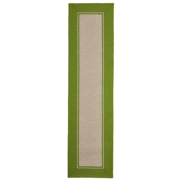 Elam Border Hand-Woven Green/Beige Indoor/Outdoor Area Rug by Breakwater Bay