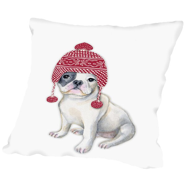 Dog in Winter Hat Throw Pillow by Americanflat
