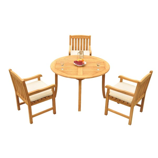 Mateer 4 Piece Teak Dining Set by Rosecliff Heights