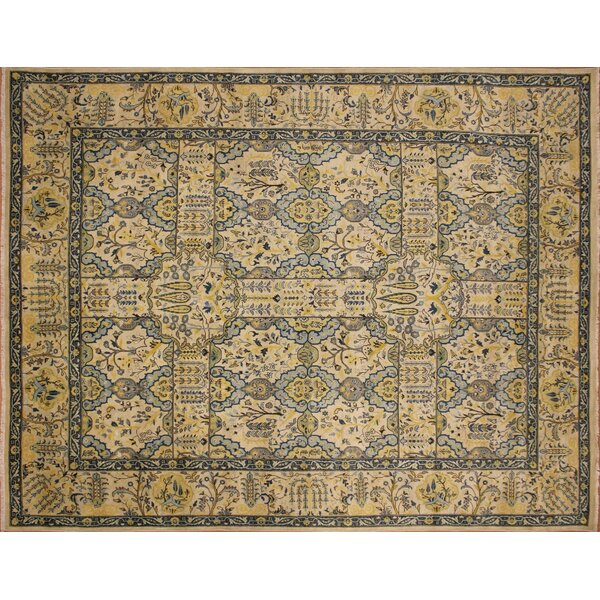 Ankara Samir Hand Knotted Wool Ivory Area Rug by World Menagerie