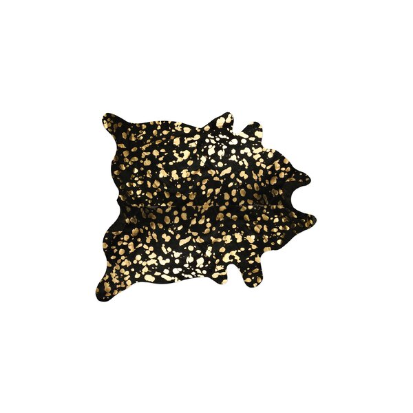 Houchin Hand-Woven Cowhide Black/Gold Area Rug  by Brayden Studio