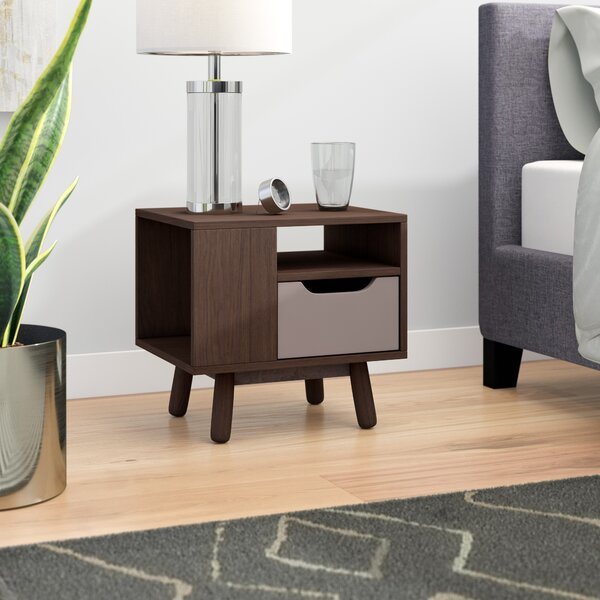 Pizarro Mid-Century Modern 1 Drawer Nightstand By Wrought Studio
