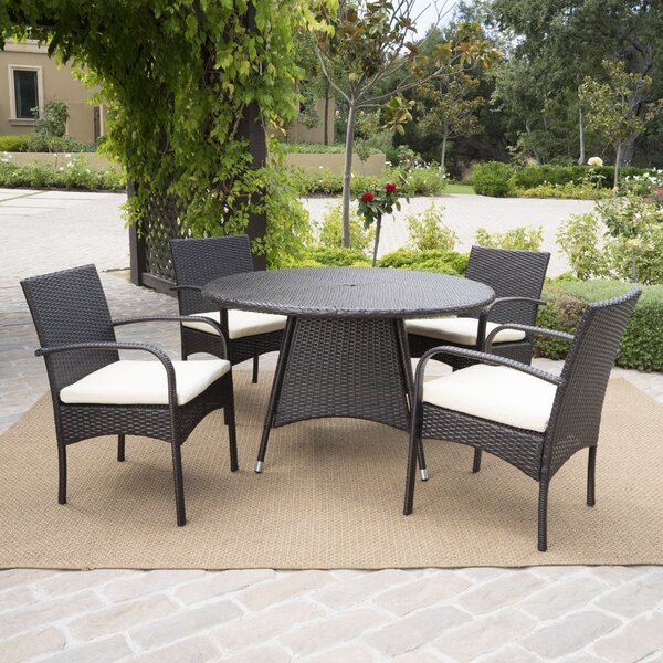 Alden 5 Piece Outdoor Dining Set with Coshions by Wade Logan