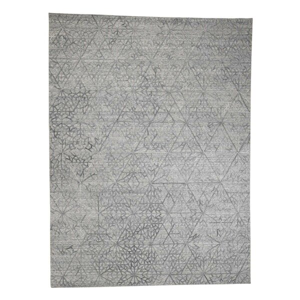 One-of-a-Kind Nesler Oriental Hand-Knotted Silk Gray Area Rug by Williston Forge