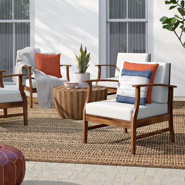 Antonia Modern Outdoor Wood Patio Chair With Cushions (Set Of 4) By Mistana