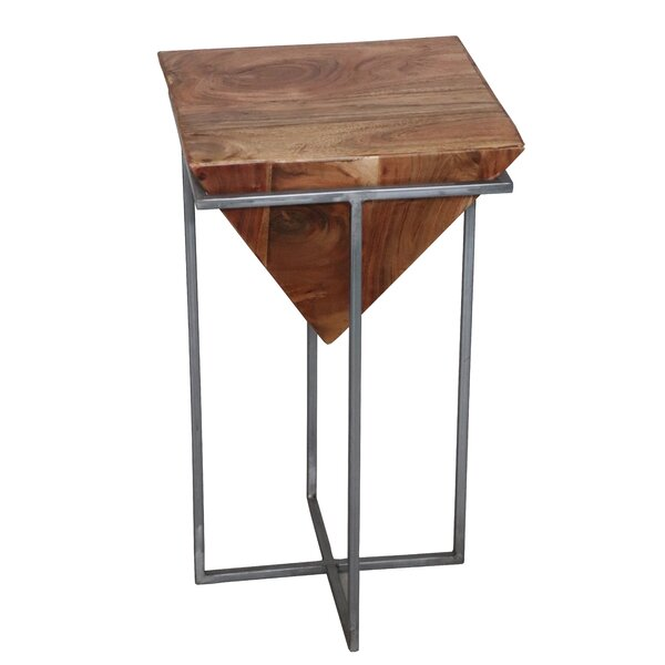 Trumann Industrial Wood And Iron End Table By Ivy Bronx