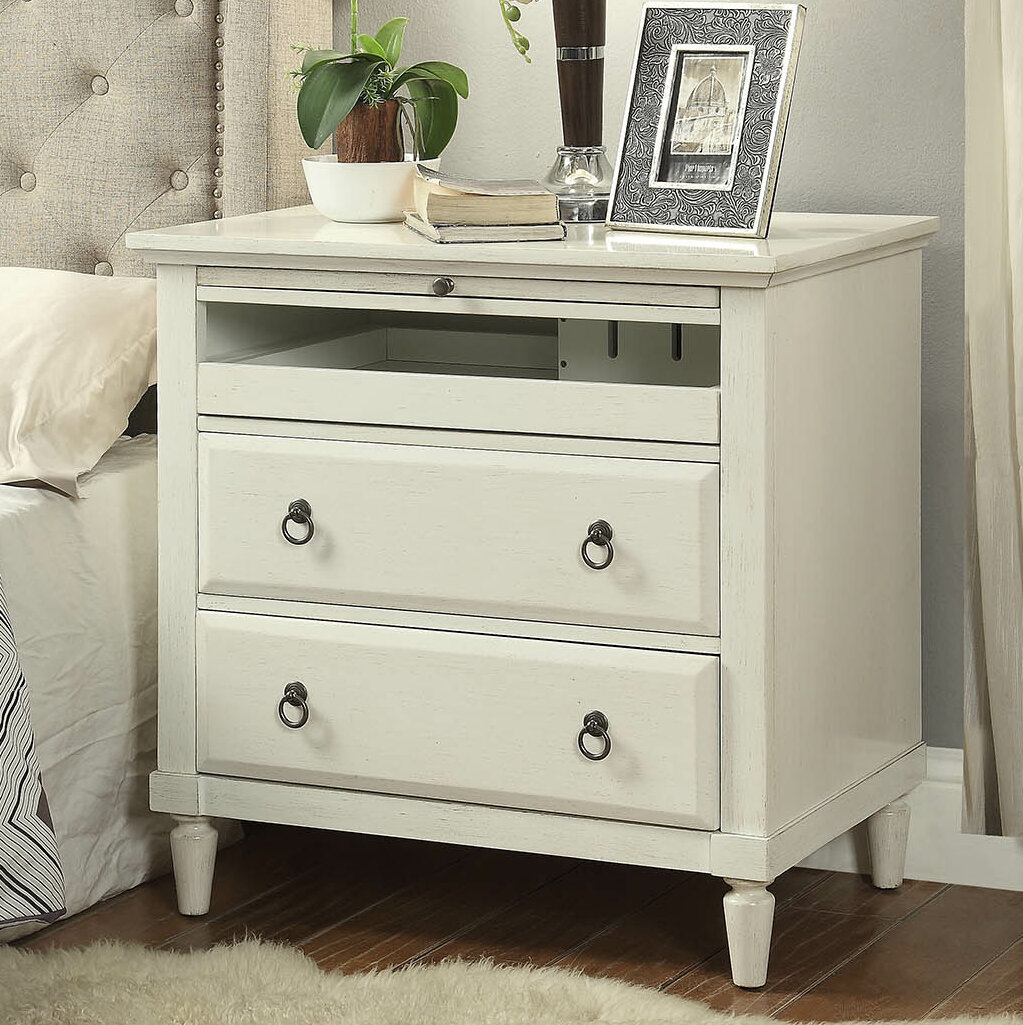 Alcott Hill Hamon 2 Drawer Nightstand With Charging Station U0026 Reviews |  Wayfair