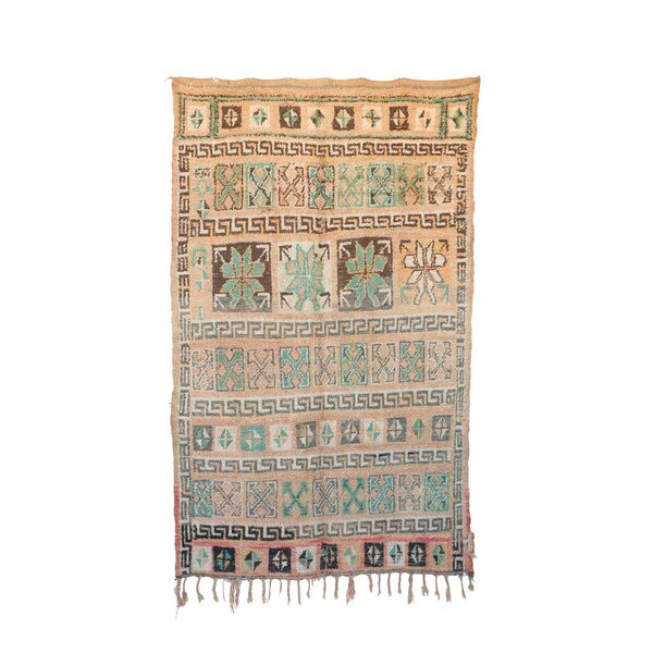 One-of-a-Kind Zayane Moroccan Hand-Knotted Wool Beige/Aqua Area Rug by Indigo&Lavender