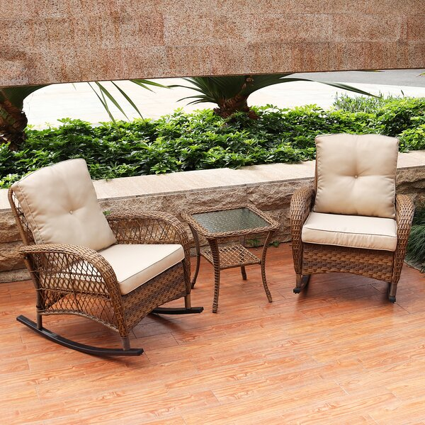 Kaeden Rocking Conversation 3 Piece Seating Group Set with Cushions by August Grove