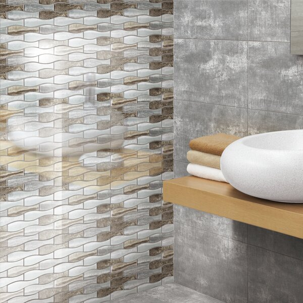 Vase Glass Mosaic Tile in Gray by Multile