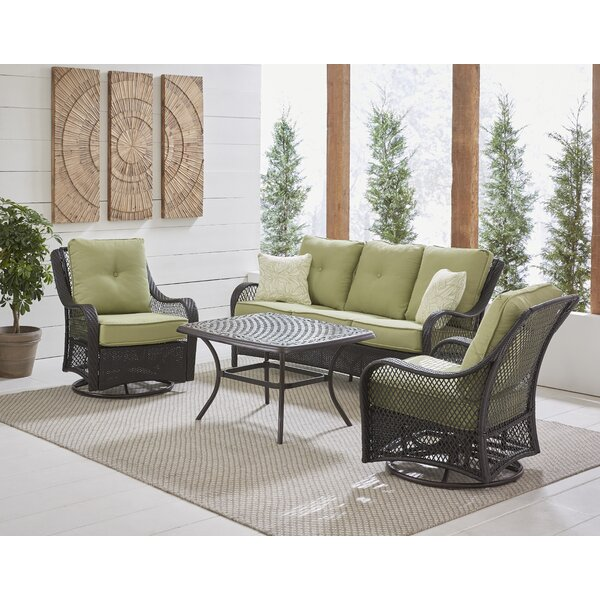 Innsbrook 4-Piece Woven Lounge Set in Autumn Berry with 2 Woven Swivel Gliders, Sofa, and a Cast-top Coffee Table by Alcott Hill