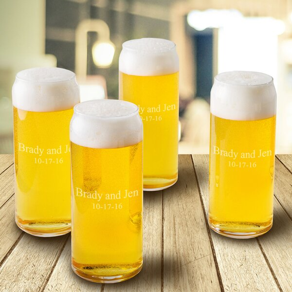 16 Oz. Tall Boy Beer Can Glass (Set of 4) by JDS Personalized Gifts