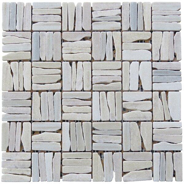 Landscape Wonder 12 x 12 Quartzite Alternate Natural Stone Mosaic Tile in White by Intrend Tile