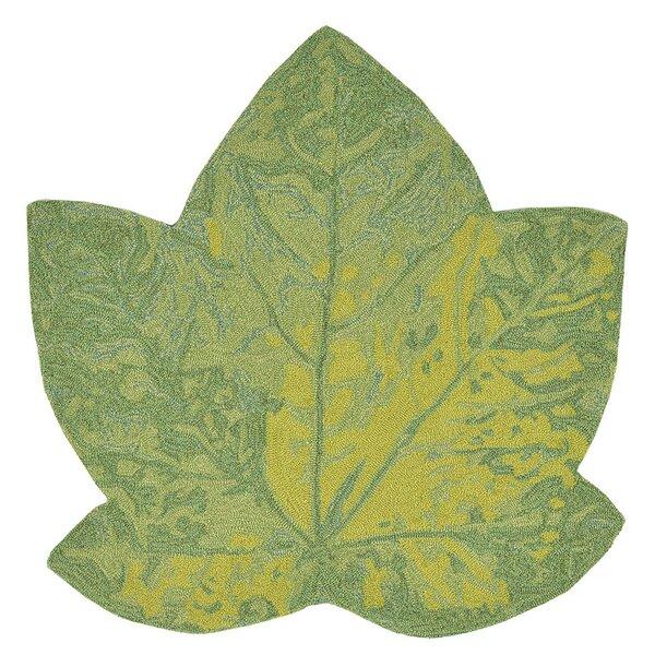 Treport Maple Leaf Handmade Green Indoor/Outdoor Area Rug by August Grove