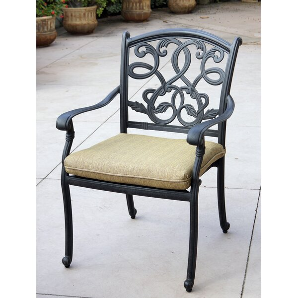Calhoun Stacking Patio Dining Chair with Cushion by Fleur De Lis Living