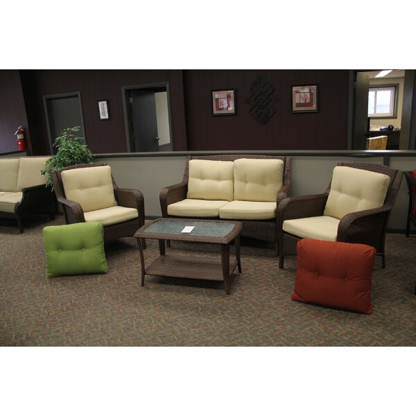 Woodview 4 Piece Rattan Sofa Seating Group with Cushions by Alcott Hill
