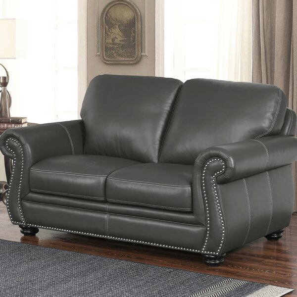 High Quality Fairdale Leather Loveseat by Darby Home Co by Darby Home Co