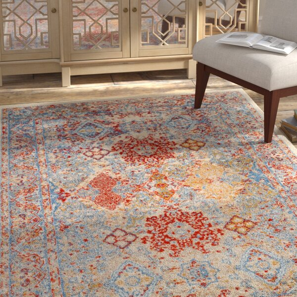 Penton Transitional Red/Blue Area Rug by Bungalow Rose