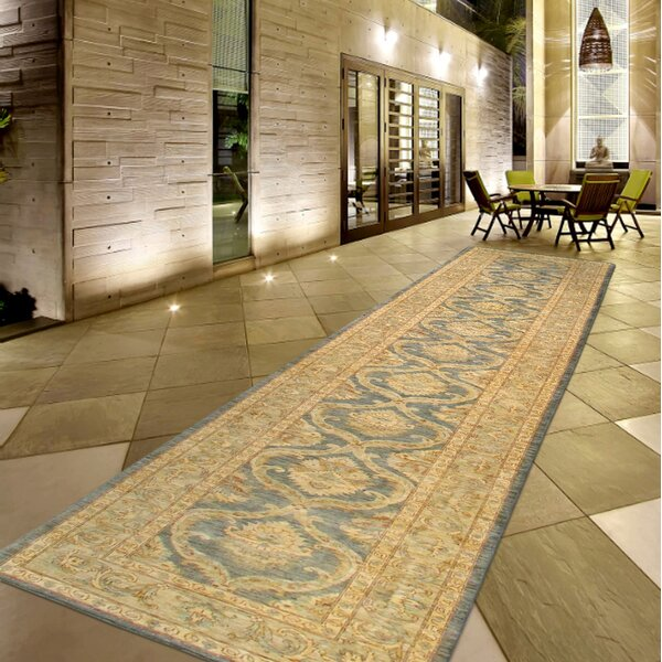 Ferehan Hand-Knotted Wool Light Blue/Beige Area Rug by Pasargad