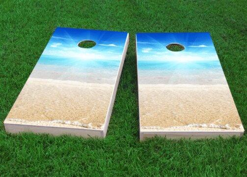Sunny Day at the Beach Cornhole Game (Set of 2) by Custom Cornhole Boards