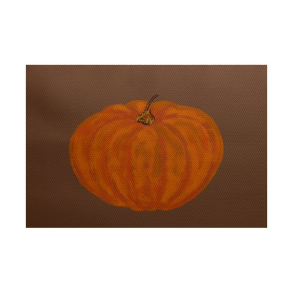 Lil' Pumpkin Holiday Print Orange Indoor/Outdoor Area Rug by The Holiday Aisle