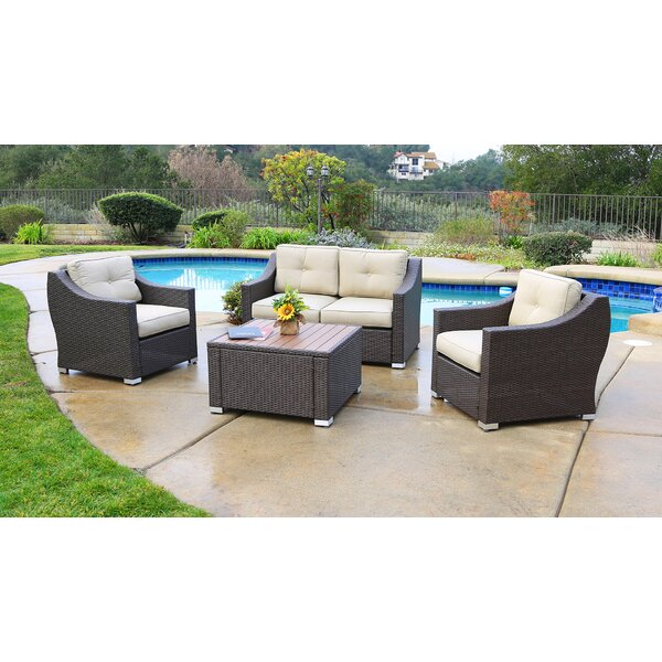 Hasan 4 Piece Rattan Sofa Seating Group with Cushions by Brayden Studio