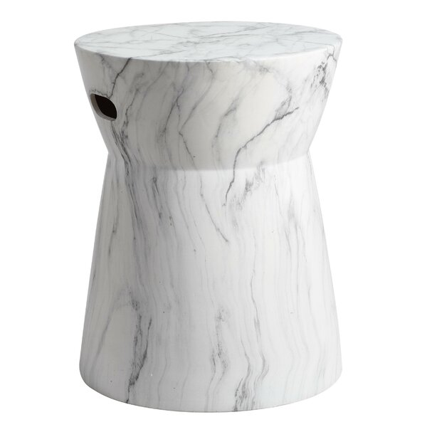 Grover Marble Garden Stool by Wrought Studio