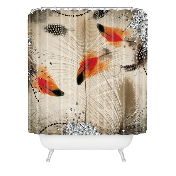 Holley Feather Dance Extra Long Shower Curtain by Bungalow Rose