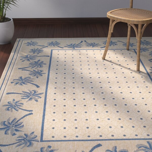 Amaryllis Ivory/Blue Outdoor Rug by Bay Isle Home