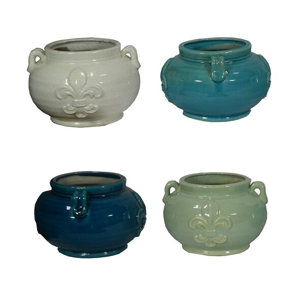 René Flower Ceramic Pot Planter (Set of 4) by Ophelia & Co.
