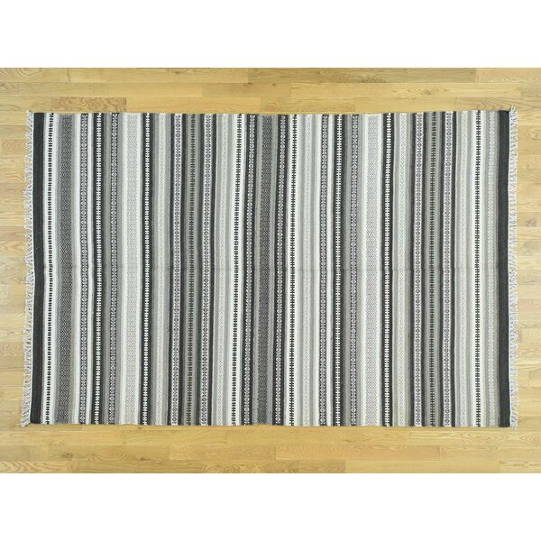 One-of-a-Kind Bessey Striped Handmade Kilim Grey/Black Wool Area Rug by Isabelline