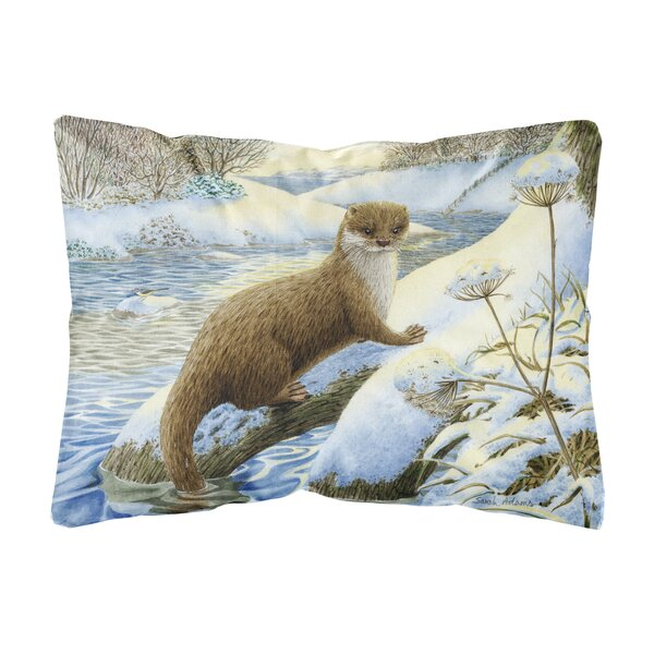 Rundle Winter Otter Fabric Indoor/Outdoor Throw Pillow by Winston Porter