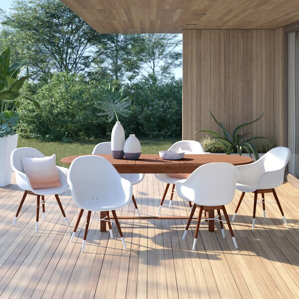 Colyer 7 Piece Dining Set with Cushions by Mercury Row
