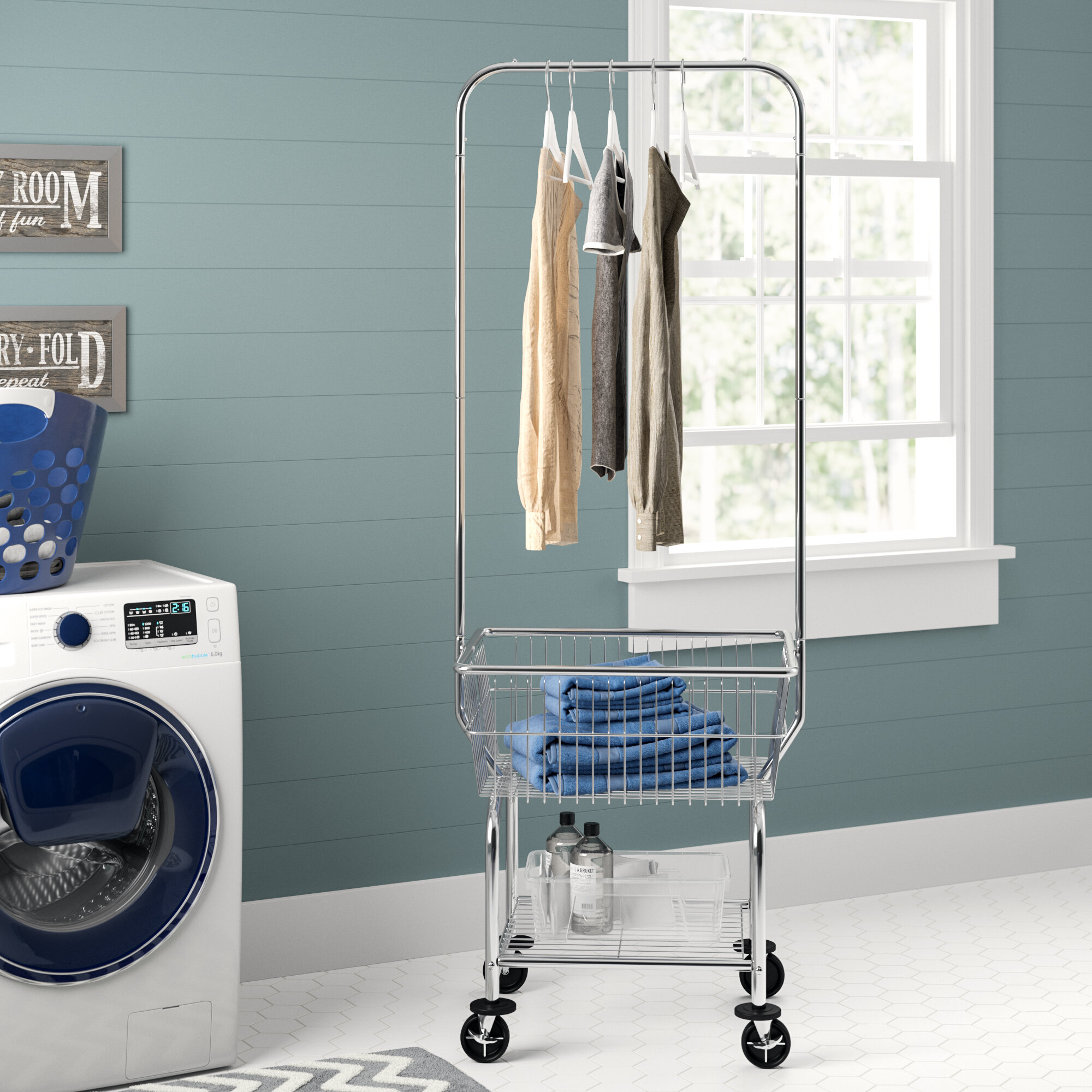 Laundry Butler Commercial Storage Rack Rolling Wire Basket Cart Clothes Hanging