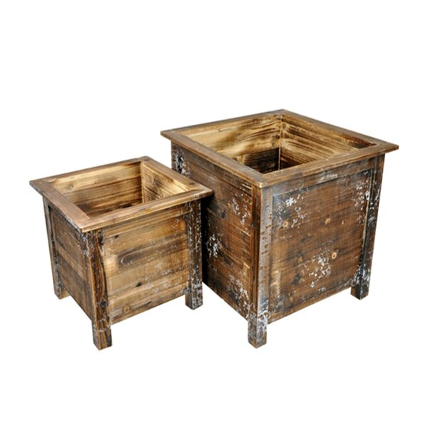 Ducey Square Distressed Wood Planter Box Set (Set of 2) by Gracie Oaks