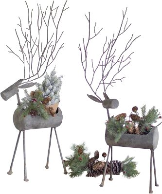 Deer 2 Piece Metal Statue Planter Set by The Holiday Aisle