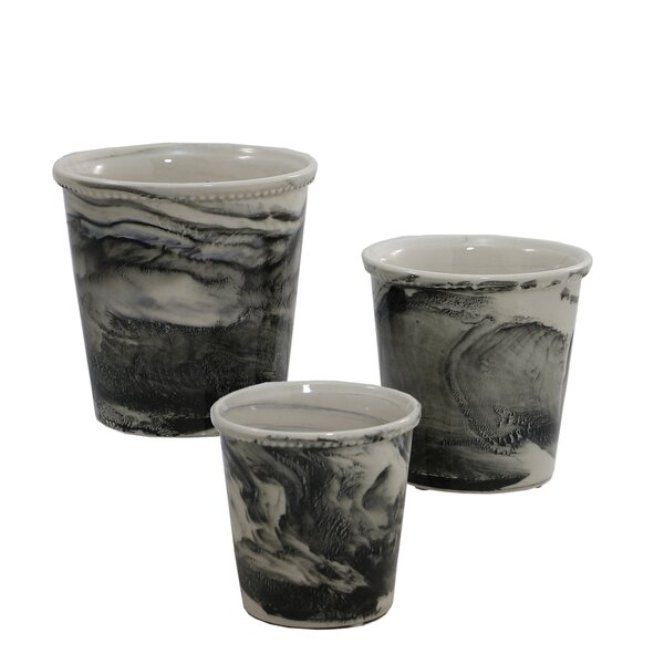 Vermont View 3 Piece Ceramic Pot Planter Set by Selectives