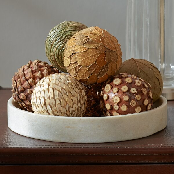 Autumnal 8 Piece Natural Decorative Ball Set by Three Posts
