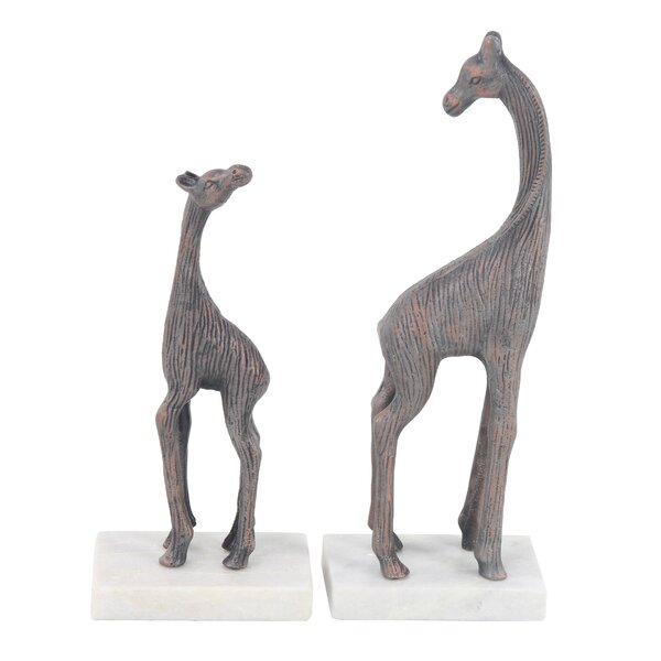Purmerend Contemporary Giraffe Stone 2 Piece Figurine Set by World Menagerie