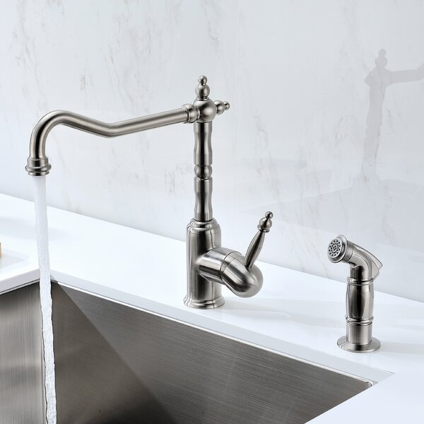 Locke Single Handle Kitchen Faucet With Side Spray By Anzzi.