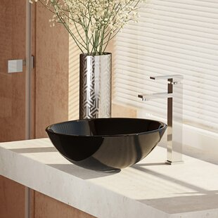 Inexpensive Glass Circular Vessel Bathroom Sink with Faucet ByRené By Elkay