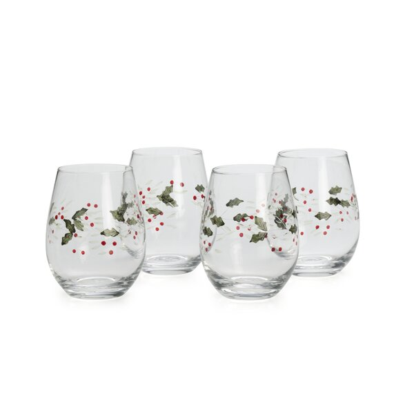 Winterberry Glass Assorted White Wine Glass Set (Set of 4) by Pfaltzgraff