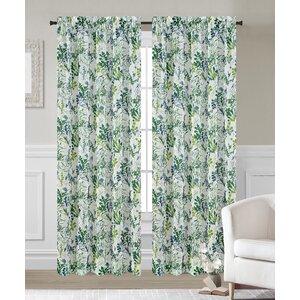 Fauna Nature/Floral Sheer Rod Pocket Curtain Panels (Set of 2)