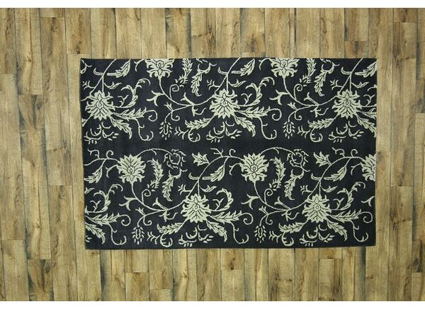 Bovill Agra Oriental Hand-Tufted Wool Navy Blue Area Rug by Canora Grey