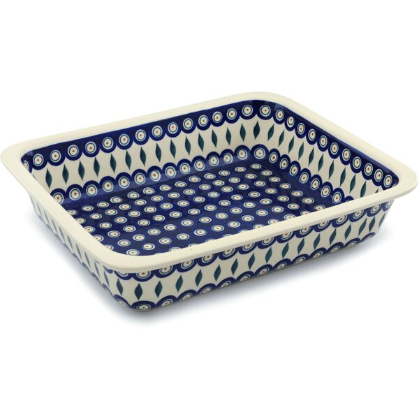 Peacock Rectangular Non-Stick Polish Pottery Baker by Polmedia