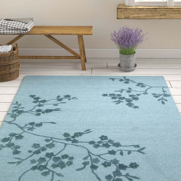Kerney Hand-Tufted Light Blue/Navy Area Rug by Ophelia & Co.
