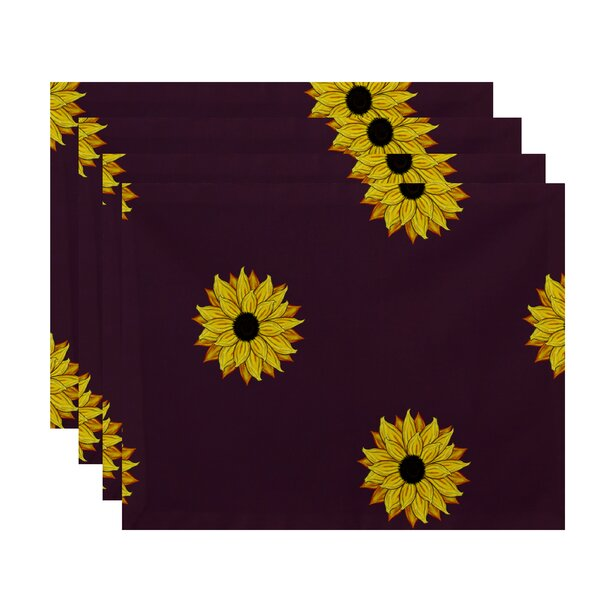 Diamondville Sunflower Frenzy Floral Print Placemat by August Grove