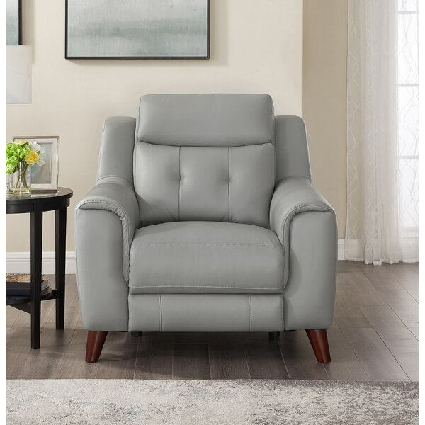 Tortuga Leather Power Recliner By Wrought Studio